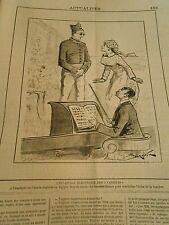 Caricature 1882 Eclairage électrique des Variété Porter Lunette Bleue pour éclat