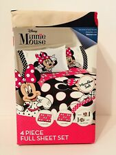 New Disney Minnie Mouse 4 Piece Full Sheet Set Bedding