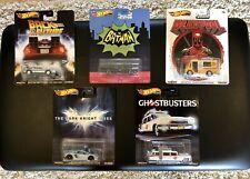 Lot 5 Hot Wheels Premium Batmobile - ECTO-1 - Deadpool - Dark Knight - Delorean
