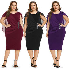 Elegant Formal Plus Size Dress Women Casual Capelet Overlay Semi Sheer Evening