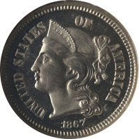1867 Three (3) Cent Nickel Proof NGC PF65 Cameo Superb Eye Appeal Nice Strike