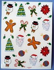 VINTAGE PAPER ART 18 STICKERS 1 SHEET CHRISTMAS SANTA SNOWMAN CANDY CANES TREE