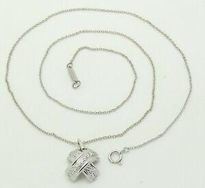 TIFFANY & CO 18CT WHITE GOLD DIAMOND CROSS SHAPED PENDANT + NECK CHAIN/NECKLACE