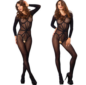 Leg Avenue Opaque Illusion Sleeved Bare Bottom Crotchless Bodystocking/Body O/S