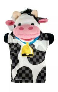 Melissa & Doug Farm Friends Cow Plush Hand Puppet Dairy Black White Childrens