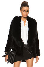 YVES SALOMON BLACK RACCOON AND MINK FUR COLLAR COAT FR 38 UK 10