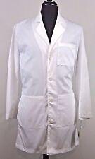 Landau Mens Physicians Lab Coat White SZ 34 Style 3124 WWSC Long Sleeve 5 Pocket