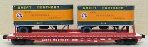 Lionel 6-17583 GN/Great Northern PS-4 Flatcar (Wood Deck)w/Trailers O-Gauge LNIB