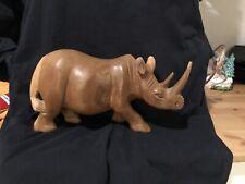 Hand Carved Wood Rhinoceros Rhino Figurine