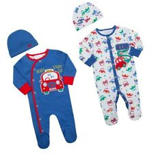 Premature  Baby Clothes Tiny sleepsuit and Hat Boy Blue  up to 5lbs up to 6-9 m