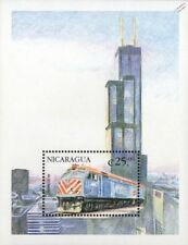 Chicago Sears / Willis Tower & METRA EMD F40PHM-2 Train Locomotive Stamp Sheet
