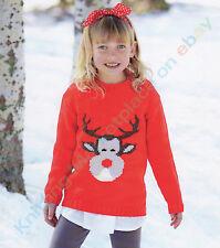 Knitting Patterns - Christmas Reindeer Jumper - 6 Sizes age 2-13 yrs  C109