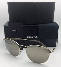 New PRADA Sunglasses SPR 62S ZVN-1C0 53-19 Pale Gold Frame w/ Brown+Gold Mirror