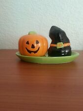 Halloween Ceramic Pumpkin and Witch hat Salt and Pepper Shakers