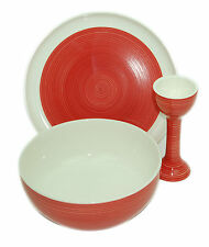 Sagaform Ceramic Breakfast Bowl Set With Egg Cup Plate Cereal Bowl Hand Painted