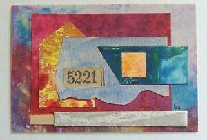 """No. 5221 Abstract Waterfall"" Original Collage Mixed Media Art 2 3/8"" x 3.5"""