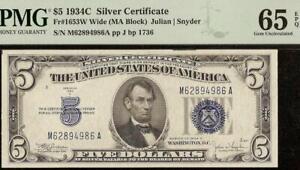 GEM 1934 C $5 DOLLAR SILVER CERTIFICATE BLUE SEAL NOTE PAPER MONEY PMG 65 EPQ