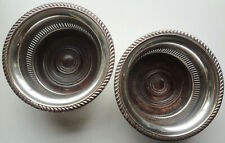 EARLY PAIR - GEORGIAN GADROON silver on copper WINE BOTTLE COASTERS - WOOD BASES