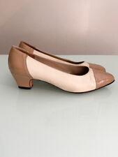 Vintage Salvatore Ferragamo Two Tone Oxford Pumps Heels 70s Shoes Beige size 7