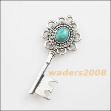 3 New Retro Charms Tibetan Silver Turquoise Flower Key Pendants 20x49mm