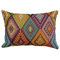 "Geometric Turkish Kilim Boudoir Cushion. 17x12"" Heavyweight Traditional Tapestry"