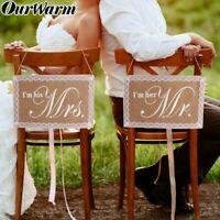 Mr. & Mrs. Chair Signs Rustic Burlap Chair Banner Set DIY Wedding Party Decor