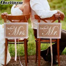 Mr. & Mrs. Chair Signs Rustic Burlap Chair Banner Set DIY Wedding Party Decor