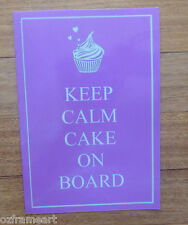 KEEP CALM CAKE ON BOARD REFLECTIVE CAR STICKER SIGN DECAL UV DIY CRAFT FREE POST