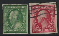 US Stamps - Scott # 383 & 384 - Used Imperf Singles                     (H-1078)