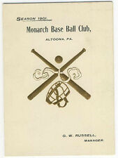 1901 Altoona Pa Monarch Base Ball Club Invitation for Opening Day