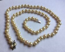Vtg 14ct 14k White Gold Diamond Uniform 10mm Cultured Pearl Necklace Strand  32""