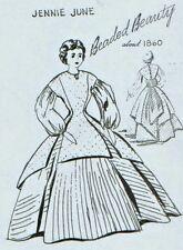 "22-24""ANTIQUE CHINA HEAD/PARIAN DOLL CLOTH BODY@1860 PRINCESS SEAM DRESS PATTERN"