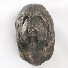 Bearded Collie, Statuette hängen an einer Wand, Bronze, Art Dog, CH