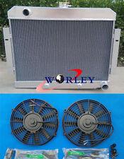 3 Core Aluminum Radiator & Fans 1972-1986 Jeep CJ GM Chevy Config CONVERSION 73