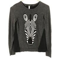 Kensie Gray Black Zebra Print Long Sleeve Crew Neck Pullover Sweater Size S
