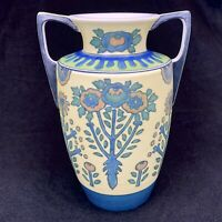 American Satsuma Japan Hand Painted Vase Art Nouveau Deco Incised Floral 7""