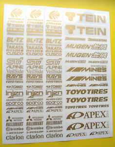 10th scale RC Drift racer GOLD sponsir logos stickers decals