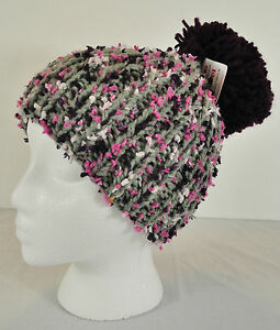 NWT! GIRLS CLAIRE'S CLUB POM POM HAT GRAY PUPRLES GIFT? MSRP $12  BRAND NEW!