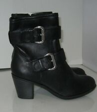 """new Black 3""""Block High Heel Round Toe Side Buckles Sexy Ankle Boot women Size 7"""