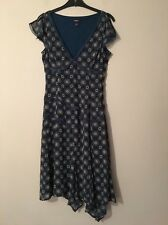 MEXX,SIZE 10, LACE TRIM, FLORAL,TEAL/GREEN/BLUE DRESS