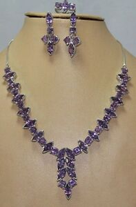 925 Sterling Silver Natural Amethyst Ring Necklace Earrings Set