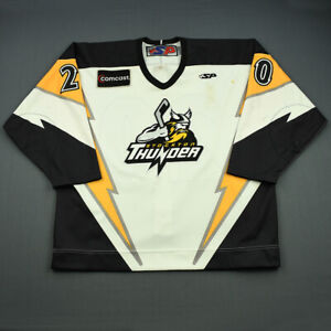 2008-09 Cleve Kinley Stockton Thunder Game Used Worn ECHL Hockey Jersey MeiGray