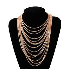 Multi Layers Gold Chain Necklace Collar Statement Fashion Women Jewellery
