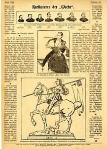 Anti-britische Karikaturen Admiral Dewey Chamberlein Dum-Dum-Galopp Orleans 1899