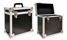 "2 X NEO BLACK Aluminium DJ Storage Carry Case for 50 LP Vinyl 12"" Records TOUGH"
