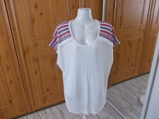 Papaya Viscose Cream Top With Pattern Shoulders Size 18 3268073000069