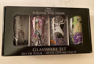 Nightmare Before Christmas Set of 4 Tall Drinking Glasses. All Your Favs-Jack…..