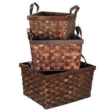 Exceptional Set Of 3 Rectangular Wood Storage Wicker Baskets Organizer With Insert  Handles