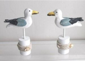 Seaside Coastal Wooden Blue & White Seagull on a Stand  Single or Pair