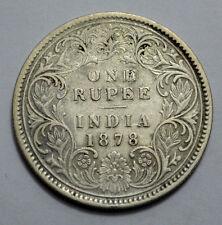 RARE 1878 A/I no Dots, BRITISH INDIA VICTORIA QUEEN ONE RUPEE RAREST SILVER COIN